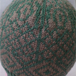 Green and light brown hat with geometric design- teen/adult slouchy beanie