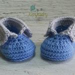 Blue & Light Grey Newborn Crochet Baby Booties Shoes Socks