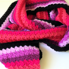 Handmade crochet Scarf - Black Pink Purple