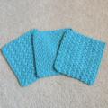 Set of 3 x Cotton crochet wash cloths Blue