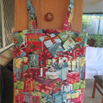 Fully lined Christmas Tote Bag - Christmas Bling Tapestry fabric.