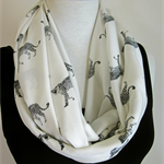 Black and White Infinity Scarf - Work Scarf - Leopard Print Loop Scarf