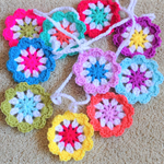 Crochet flower garland Rainbow