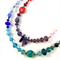 Crystal and glass beaded long necklace with detachable cinnabar pendant