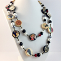 French Postcards Photobeads Necklace with crystals and glass pearls