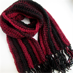 Red and Black Striped Hand Knitted Scarf