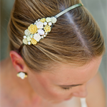 Yellow Bridesmaid Headband, Bridesmaids Headband, Swarovski Collage Headband, Ye