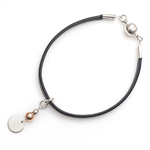 Metallic leather cuff bracelet with magnetic clasp