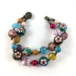 Cloisonné, crystal and glass beaded bracelet