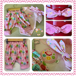 REVERSIBLE PANT SET - 'Pastel Bouquet' -  Girls, Pant Reversible,Appliqued Onsie