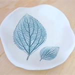Ceramic bowl, jewellery holder. Green leaf plate.