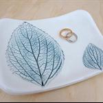 Ceramic bowl, jewellery holder. Green leaf plate.