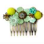 Mint Collage Bridal Comb, Bridal Comb, Collage Bridal  Comb