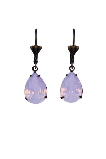Rose Water Opal Swarovski eardrop Earring, Pink Teardrop Earring