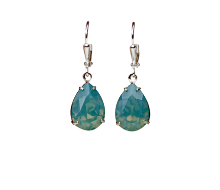 Pacific Opal Swarovski Earrings, Teardrop Earring, Green Teardrop Earring