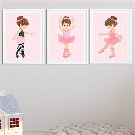 """Little Ballerina"" Children's Wall Art Prints - Set of 3"