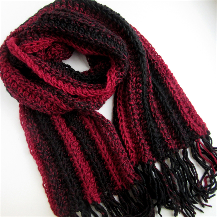 Red And Black Striped Hand Knitted Scarf Hand Crochet Long Scarves