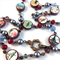 Vintage Postcards Photobeads Necklace with crystals and glass pearls