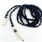 Unisex black onyx and carved bone lariat stole long necklace