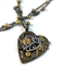 Steampunk Inspired Mechanical Heart Pendant on long bronze pearl chain necklace