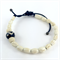 Mens Bracelet- Carved Bone Beads on Leather Cord