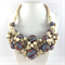 Wooden Woven Statement Necklace- Pale wood and stripes