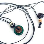 Unisex pendant necklace- wood, green onyx and bone on black leather cord