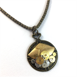Steampunk Fan Pendant on Snake Chain
