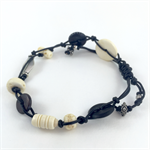 Mens Bracelet- Mixed Bone and Wood Beads on Leather Cord