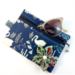 Coin purse / makeup bag / pouch with detachable flower brooch - navy swans