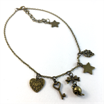 Steampunk inspired charm necklace on bronze chain