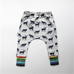 Black Deer and Fox Baby Harem Pants with rainbow cuffs. Boys or Girls.