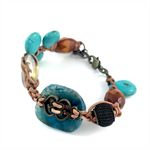 Semi precious stone and leather bracelet- turquoise howlite and shell disks