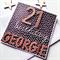 Happy Birthday 21st custom ANY AGE rose gold black white spots monochrome card