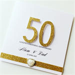 Golden wedding anniversary 50 glitter heart him her love  card