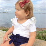 Navy high waisted bloomers bloomies with bow sash