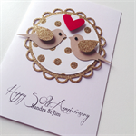Anniversary love congratulations gold hearts  lovebirds card