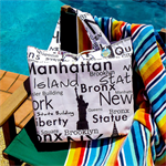SALE !! FREE SHIPPING - Large Reversible Tote Bag - USA/NYC shopping tote bag