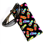 Padded Sunglasses Pouch in Colourful Thong Fabric