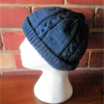 Vintage Knit Blue Adult Cable Beanie. 100% Wool.