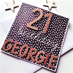 Happy Birthday 21st custom ANY AGE rose gold black white spots monochrome card