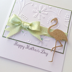 Happy Mother's Day white emboss gold glitter flamingo lime bow card