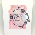 'May Your Day Bloom With Happiness' Art Deco Floral Handmade C6 Greeting Card