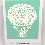 'Happy Anniversary' Embossed Heart & Hot Air Balloon Couple Handmade C6 Card