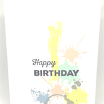 'Happy Birthday' Abstract Pastel Splatter Handmade C6 Greeting Card