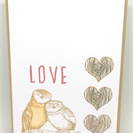 Cute Owl Love Themed Handmade C6 Greeting Card