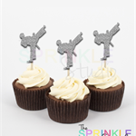 Karate Martial Arts Glitter Cupcake Toppers ~ set 12 ~