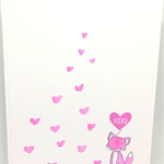 Adorable Pink Fox Watercoloured Handmade C6 Greeting Card