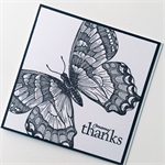 Thank you monochrome black white hand stamped butterfly monarch card