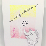 Cute Baby Girl Elephant Pink & Yellow Handmade C6 Greeting Card